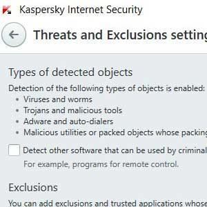 Kaspersky Anti Virus 2019 rilevamento